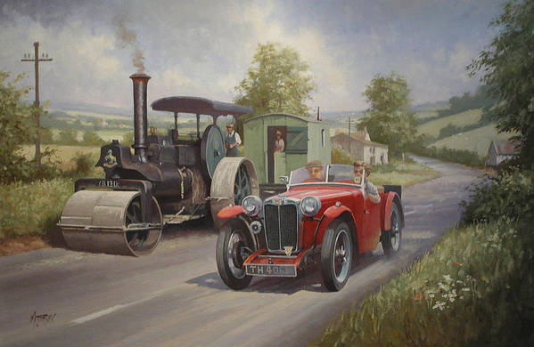 united Kingdom Print featuring the painting Mg Sports Car. by Mike Jeffries