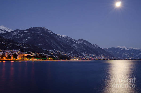 Moon Print featuring the photograph Moonlight Over A Lake by Mats Silvan