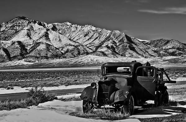 Black And White Print featuring the photograph Old Truck by Robert Bales