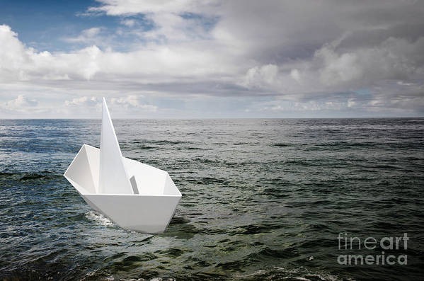 Abstract Print featuring the photograph Paper Boat by Carlos Caetano