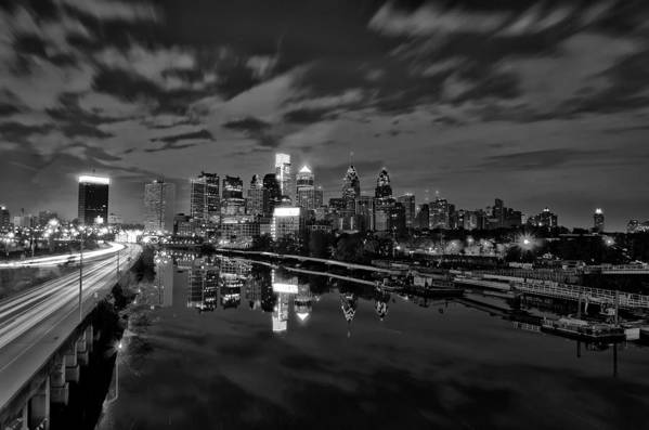 Philadelphia Print featuring the photograph Philadelphia From South Street At Night In Black And White by Bill Cannon