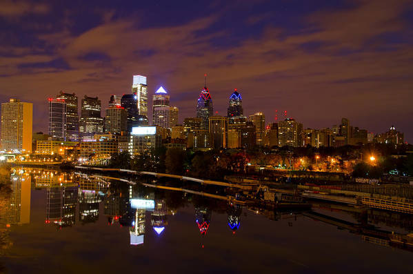 Philadelphia Print featuring the photograph Philadelphia On The Schuylkill At Night by Bill Cannon