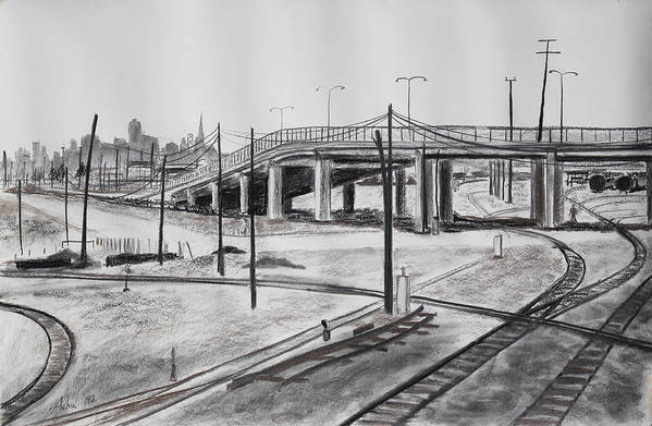 Industrial Landscape Drawing Print featuring the drawing Quiet West Oakland Train Tracks With Overpass And San Francisco by Asha Carolyn Young