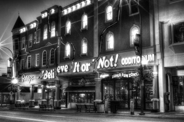 Ripley's Print featuring the photograph Ripley's Of Gatlinburg In Black And White by Greg and Chrystal Mimbs