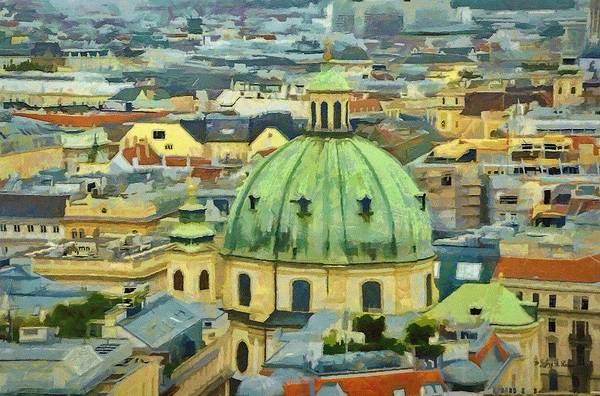 Vienna Print featuring the painting Rooftops Of Vienna by Jeff Kolker