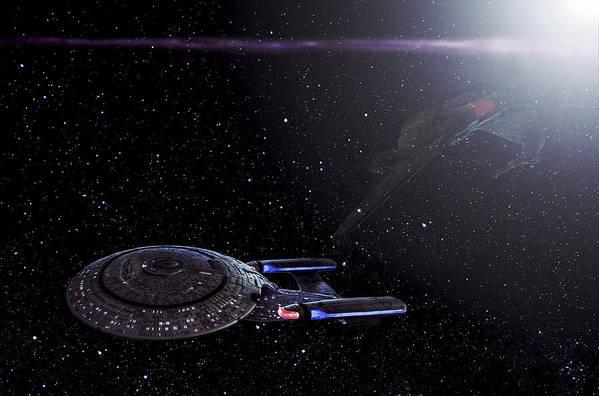 Star Trek Print featuring the photograph Star Trek - Ambush - Klingon Bird Of Prey - Uss Enterprise D by Jason Politte
