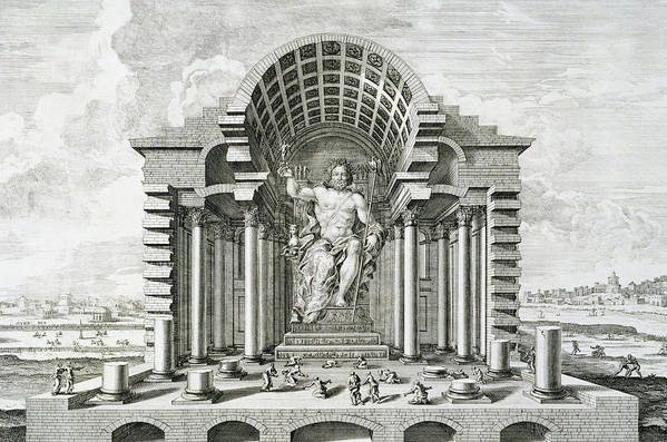 Male Print featuring the drawing Statue Of Olympian Zeus by Johann Bernhard Fischer von Erlach