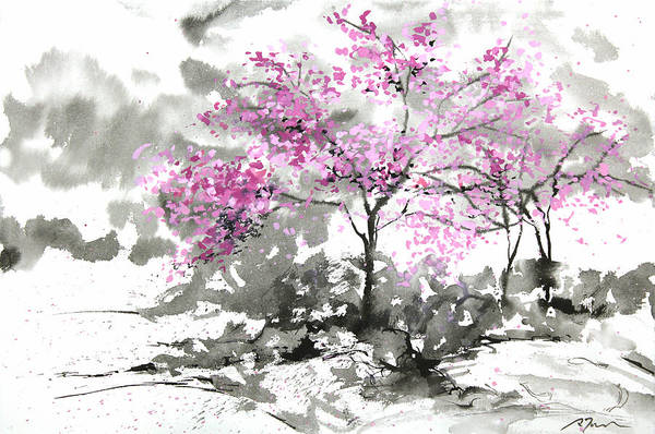 Woods Print featuring the painting Sumie No.2 Plum Blossoms by Sumiyo Toribe