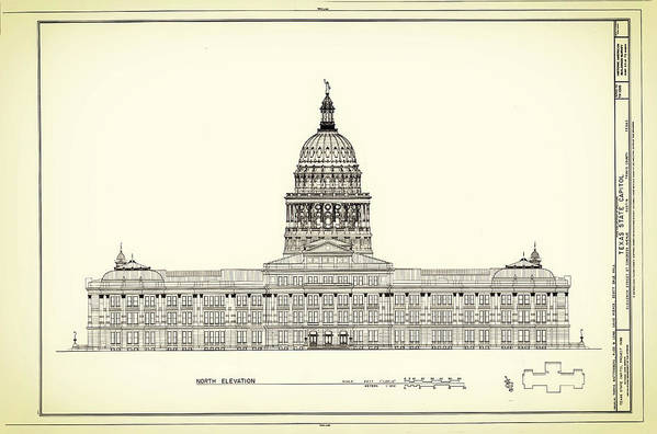 Texas State Capitol Print featuring the drawing Texas State Capitol Architectural Design by Mountain Dreams