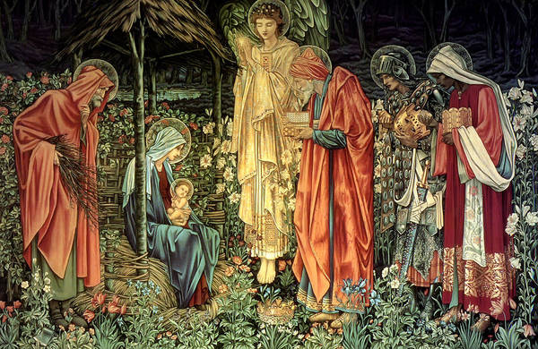 Edward Burne-jones Print featuring the tapestry - textile The Adoration Of The Kings by Bradley Skeen