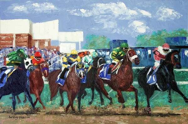 The Bets Are On Again Framed Prints Print featuring the painting The Bets Are On Again by Anthony Falbo