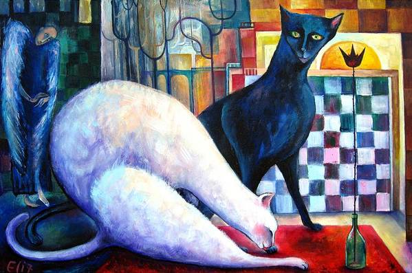 Cat Print featuring the painting The Queen And The Knight. Chess Of Love by Elisheva Nesis