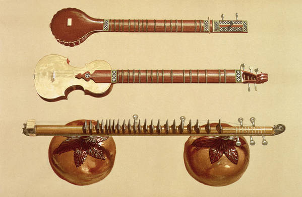 String Print featuring the drawing Two Sitars And A Rudra Vina, Indian by Alfred James Hipkins