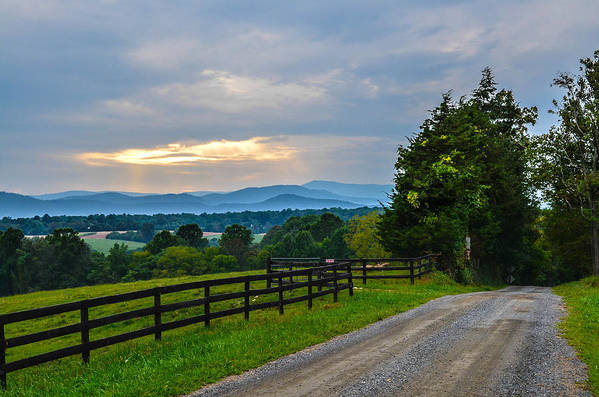 Appalachian Mountains Print featuring the photograph Virginia Road At Sunset by Alex Zorychta