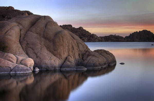 Sunrise Print featuring the photograph Watson Lake Arizona Colors by Dave Dilli