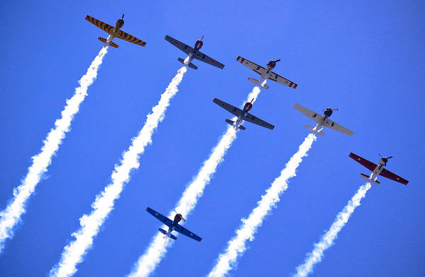 Flight Formation Print featuring the photograph Yak 52 Formation by Phil 'motography' Clark