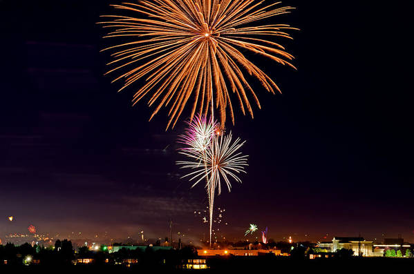 Fireworks Print featuring the photograph Fireworks by Elijah Weber