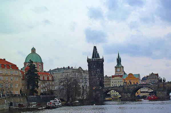 Prague Digital Art Print featuring the digital art Charles Street Bridge And Old Town Prague by Paul Pobiak