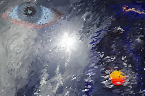 Abstract Print featuring the digital art Eye In The Sky by Mark Stidham