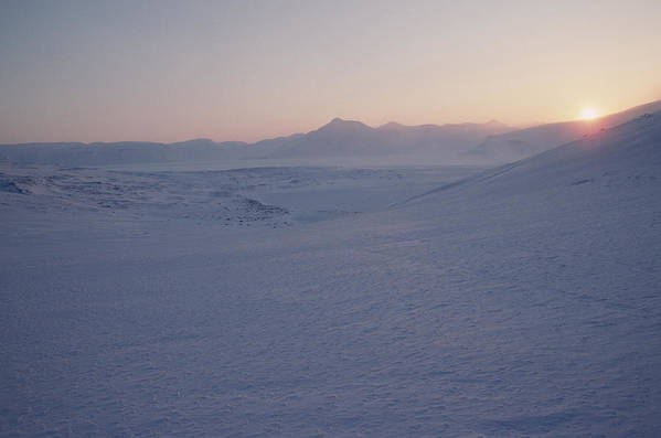Spitsbergen Print featuring the photograph Midnight Sun Hovers Above Polar by Gordon Wiltsie