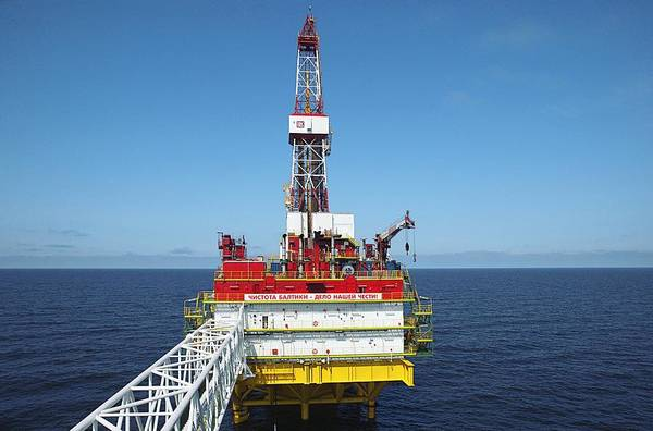 Oil Print featuring the photograph Oil Production Rig, Baltic Sea by Ria Novosti