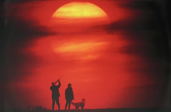 Adults Only Print featuring the photograph Silhouette Of Couple With Dog, Man Aiming, Sunset by David De Lossy