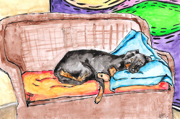 Sleeping Print featuring the painting Sleeping Rottweiler Dog by Jera Sky