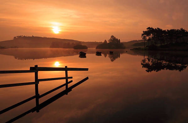 Sunrise Print featuring the photograph Sunrise At Knapps Loch by Grant Glendinning