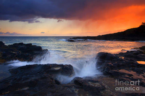 Waves Print featuring the photograph Sunset Storm Passing by Mike Dawson