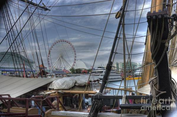 Tall Ships Print featuring the photograph Tall Ships At Navy Pier by David Bearden