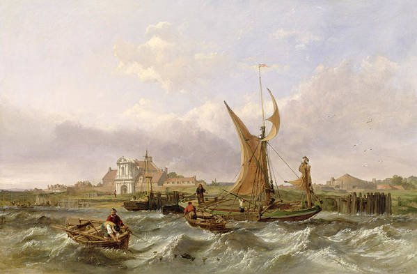 Tilbury Print featuring the painting Tilbury Fort - Wind Against The Tide by William Clarkson Stanfield