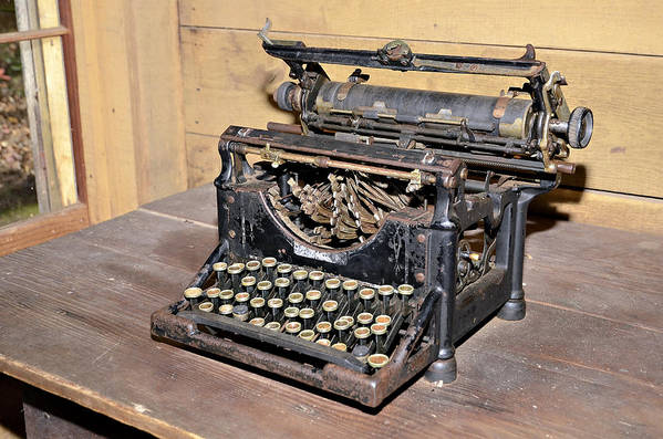Print featuring the photograph Vintage Typewriter by Susan Leggett