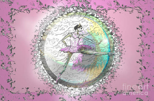 Ballet Print featuring the digital art A La Second Pink Variation by Cynthia Sorensen