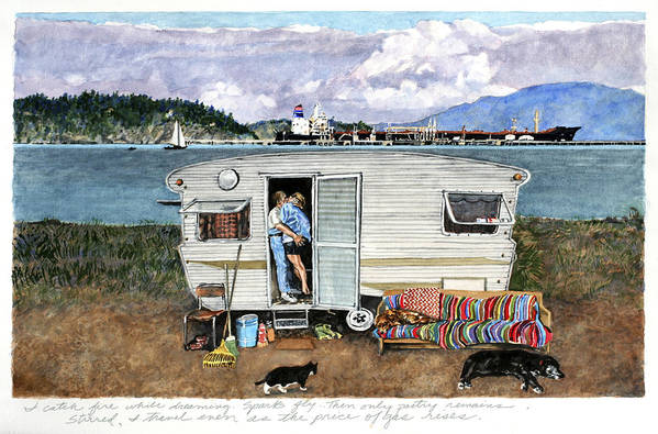 Love Print featuring the painting Anacortes Fuel by Perry Woodfin
