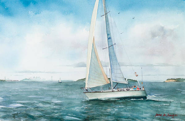 Seascape Print featuring the painting Boston Harbor Islands by Laura Lee Zanghetti