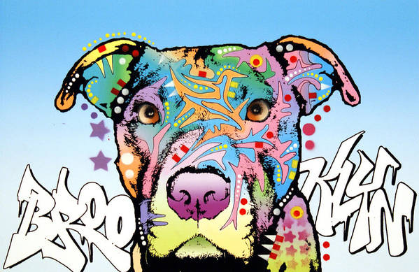 Pitbull Print featuring the painting Brooklyn Pit Bull 2 by Dean Russo