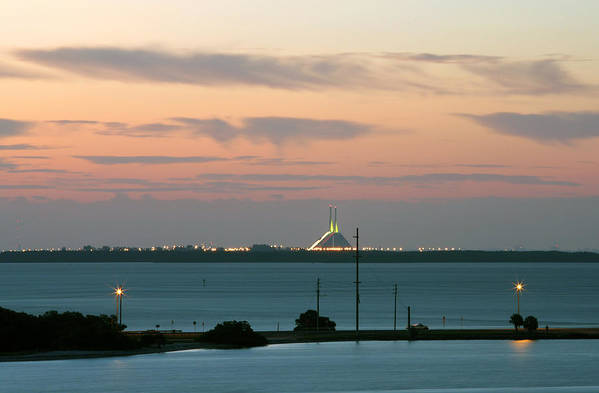 Sunshine Print featuring the photograph Dawn At The Sunshine Skyway Bridge Viewed From Tierra Verde Florida by Mal Bray