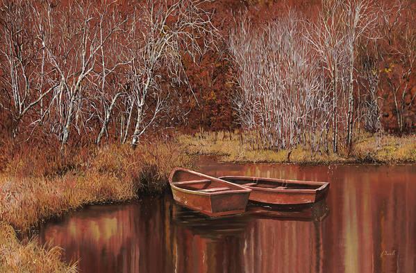 Boats Print featuring the painting Le Barche Sullo Stagno by Guido Borelli