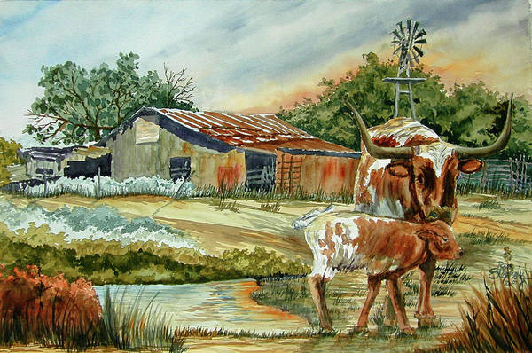 Longhorns Print featuring the painting Momma Longhorn And Calf by Ron Stephens