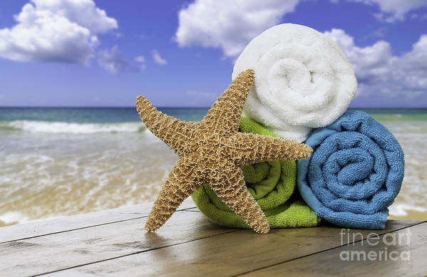 Summer Print featuring the photograph Summer Beach Towels by Amanda And Christopher Elwell