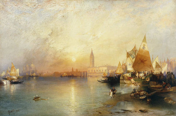 American Artist;american Painting Print featuring the painting Sunset Venice by Thomas Moran