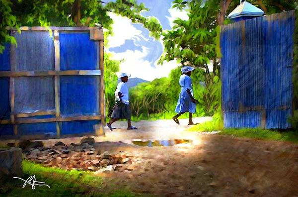 Impressionism Print featuring the painting The Blue Gate by Bob Salo