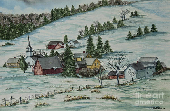 Winter Scene Paintings Print featuring the painting Winter In East Chatham Vermont by Charlotte Blanchard