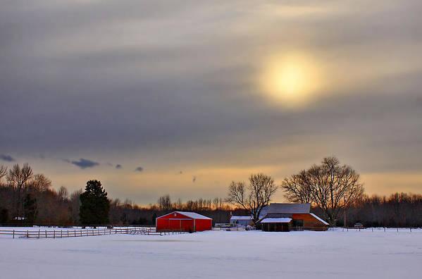 Barn Print featuring the photograph Winter Sun by Evelina Kremsdorf