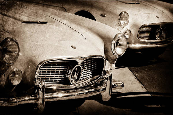 1960 Maserati Grille Emblem Print featuring the photograph 1960 Maserati Grille Emblem by Jill Reger