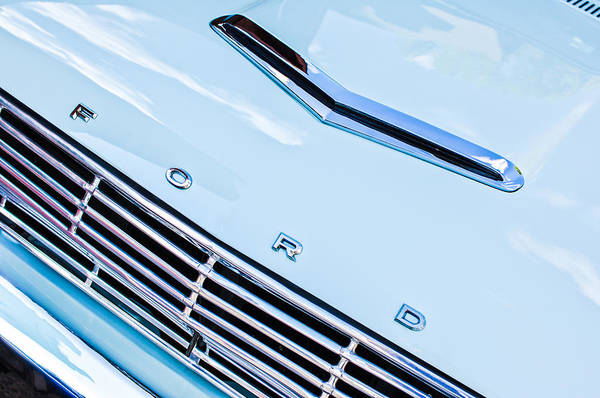 1963 Ford Falcon Futura Convertible Hood Emblem Print featuring the photograph 1963 Ford Falcon Futura Convertible Hood Emblem by Jill Reger