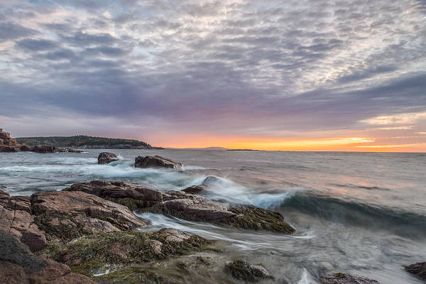 Acadia National Park Print featuring the photograph Morning Splash by Jon Glaser