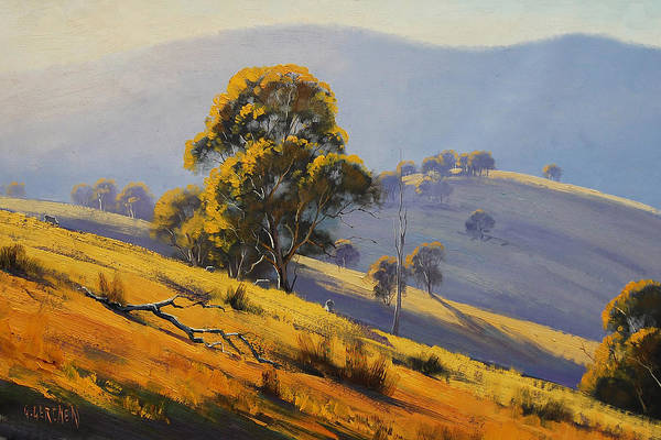 Rural Print featuring the painting Morning Sunlight by Graham Gercken