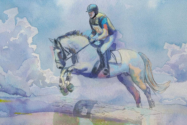 Horse Sport Print featuring the painting Polo Art by Catf