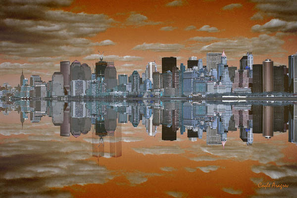 Manhattan Print featuring the digital art Yesterday Reflexions by Coqle Aragrev